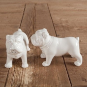 White Porcelain English Bulldog Salt & Pepper Condiment Set