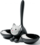 A Di Alessi Tigrito Cat Bowl in 18/10 Stainless Steel and Thermoplastic Resin, Black