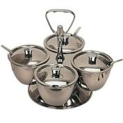 Revolving Relish Server 4 bowls. Stainless steel.