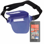 "DURAGADGET ""Travel"" Range Blue Waterproof Waist Bag / Dry Pouch With Adjustable Waist Strap For HTC Windows Phone 8X, HTC Desire 200, One X+, Desire X & One V"