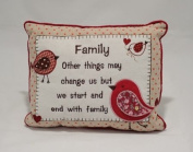 Family Sweet Sentiment Embroidered Verse Cushion - Family other things may change us Design
