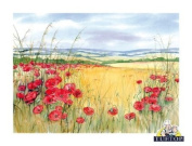 Premium Glass Chopping Board - Red Poppies Design Kitchen Worktop Saver Protector