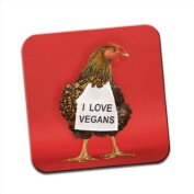 Chicken with Sign I Love Vegans Single Premium Glossy Wooden Coaster