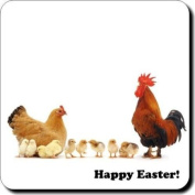 "Hen, Chicks, and Cockrel ""Happy Easter!"" Sentiment Single 90cm leather Coaster"