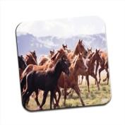 Herd Of Horses Running Single Premium Glossy Wooden Coaster