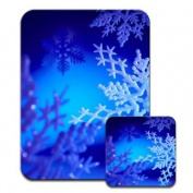 Beautiful Icy Snow Flakes in Winter Wonderland Premium Mousematt & Coaster Set
