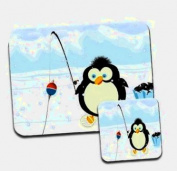 Cute Fat Penguin Fishing in Snow Premium Mousematt & Coaster Set