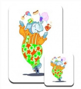 Elephant Clown on Unicycle Juggling Food Premium Mousematt & Coaster Set