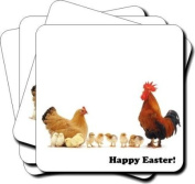 "Hen, Chicks, and Cockrel ""Happy Easter!"" Sentiment 90cm Leather Coaster Gift Set"