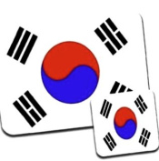 Korea, Republic Flag Premium Mousematt & Coaster Set