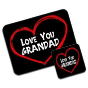 Love You Grandad Fathers Day Birthday Gift Premium Mousematt & Coaster Set