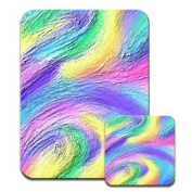Pastel Mullticoloured Swirls Blue Pink Purple Premium Mousematt & Coaster Set