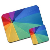 Rainbow colour Umbrella Top Premium Mousematt & Coaster Set