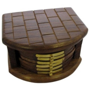 6pc Coaster Set in Chest of Draws Style Holder - Bricked Design