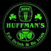 4x ccpa1535-g HUFFMAN'S Irish Shamrock Pub Ale Bar Beer Etched Engraved 3D Coasters