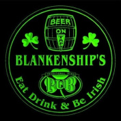 4x ccpa1615-g BLANKENSHIP'S Irish Shamrock Pub Ale Bar Beer Etched Engraved 3D Coasters