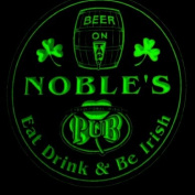 4x ccpa1691-g NOBLE'S Irish Shamrock Pub Ale Bar Beer Etched Engraved 3D Coasters
