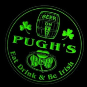 4x ccpa1704-g PUGH'S Irish Shamrock Pub Ale Bar Beer Etched Engraved 3D Coasters