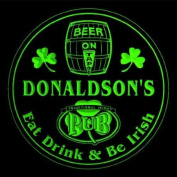 4x ccpa1786-g DONALDSON'S Irish Shamrock Pub Ale Bar Beer Etched Engraved 3D Coasters