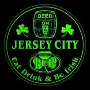 4x ccpa2125-g JERSEY CITY Irish Shamrock Pub Ale Bar Beer Etched Engraved 3D Coasters