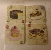 Set of 4 Cake and desert vintage look Coasters coaster Cupcakes and Gateaux