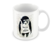 Printed Banksy Mug - Keep It Real Chimp