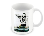 Printed Banksy Mug - Mona Lisa With Rocket Launcher