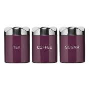 Houston Enamel Purple Tea Coffee Sugar Tins Jar Canisters New Model