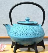 Star Trivet 125 & Cast Iron Daisy Blue Tetsubin teapot kettle 0.6 litre Japanese style
