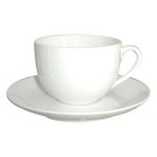 Dema Simplicity White Ceramic Tea Cup and Saucer