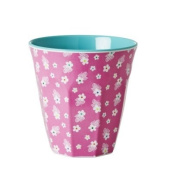 Rice Melamine Cup Two Tone with Pink Flower Print