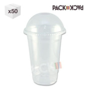 16 oz Clear PET SmoothieCup with domed lid x 50