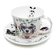 Roy Kirkham Animal Fashion Breakfast Cup and Saucer, Dog Design