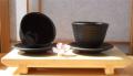 Cast iron black Zen Ripple tea cup and round coaster X2