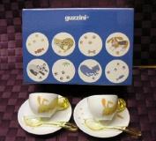 Fratelli Guzzini Spa Cups Saucers Rabbit, Set of 2, Yellow