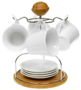 White Bamboo Four Cup and Saucer Set
