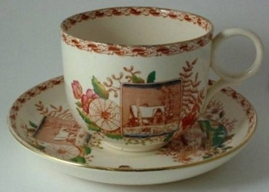 c1900 Kelling & Co super sized transfer printed and hand finished breakfast cup and saucer Seasons pattern