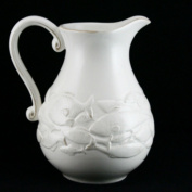 Gisela Graham Shabby Chic Ceramic White Embossed Fish Jug With Scrolled Handle 1.3 Litres