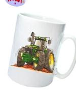 WHITE CERAMIC TEA COFFEE MUG KOOLART IMAGE John Deere Tractor 8410