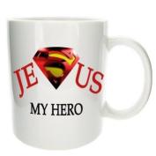 Jesus Is My Hero Novelty Office Tea Coffee Gift Mug - MugsnKisses Collection - Each Mug Includes Free Chocolate Kiss!