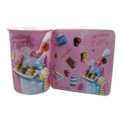 Marvellous Mum mug & coaster