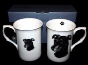 SET OF 2 BONE CHINA BEAKERS/ MUGS black greyhound PRESENTATION GIFT BOXED- lovely gift
