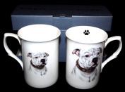 SET OF 2 BONE CHINA BEAKERS/ MUGS white staffordshire bull terrier/ staffie bull PRESENTATION GIFT BOXED- lovely gift