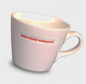 Keith Brymer Jones Word Range Bucket Mug, Overworked/ Underpaid