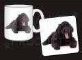Black Labradoodle Dog Mug and Coaster Set Gift, Ref:AD-LD2MC