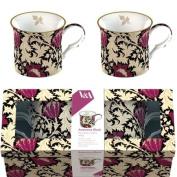 Creative Tops V & A William Morris Anemone Fine Bone China Mugs, Set of 2, Black