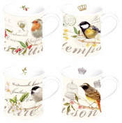 Nuova R2S 623OISE Set of 4 Mugs Porcelain Birds Theme
