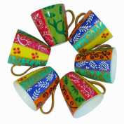 Set of Cappuccino Coffee Cups in hand painted Bone China, 'Diversity Stripes', an original design of Caroline Hely Hutchinson. Six mini mugs, gift boxed