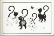 FRENCH VINTAGE PLACEMAT RETRO AD THE CAT BY DUBOUT BUTTERFLIES