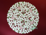 """Tablecloth accessories - doily/place mat - Round 22"""" (56cm) - Pink Rose with White daisy embroidery"""